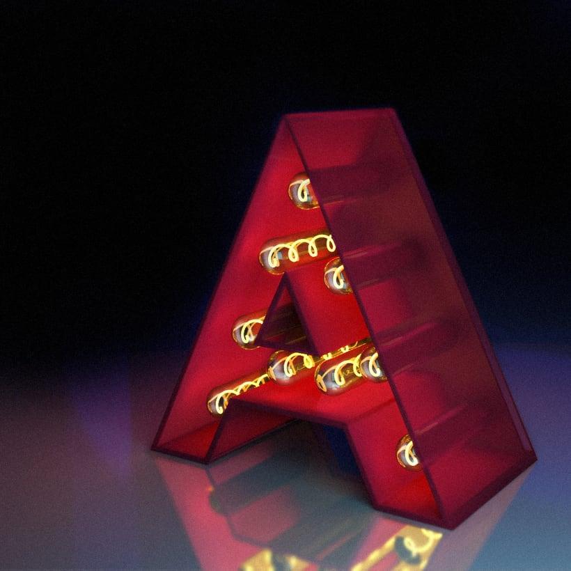 """Mi Proyecto del curso: Lettering 3D: modelado y texturizado con Cinema 4D  L E T R """"A"""" -1"""