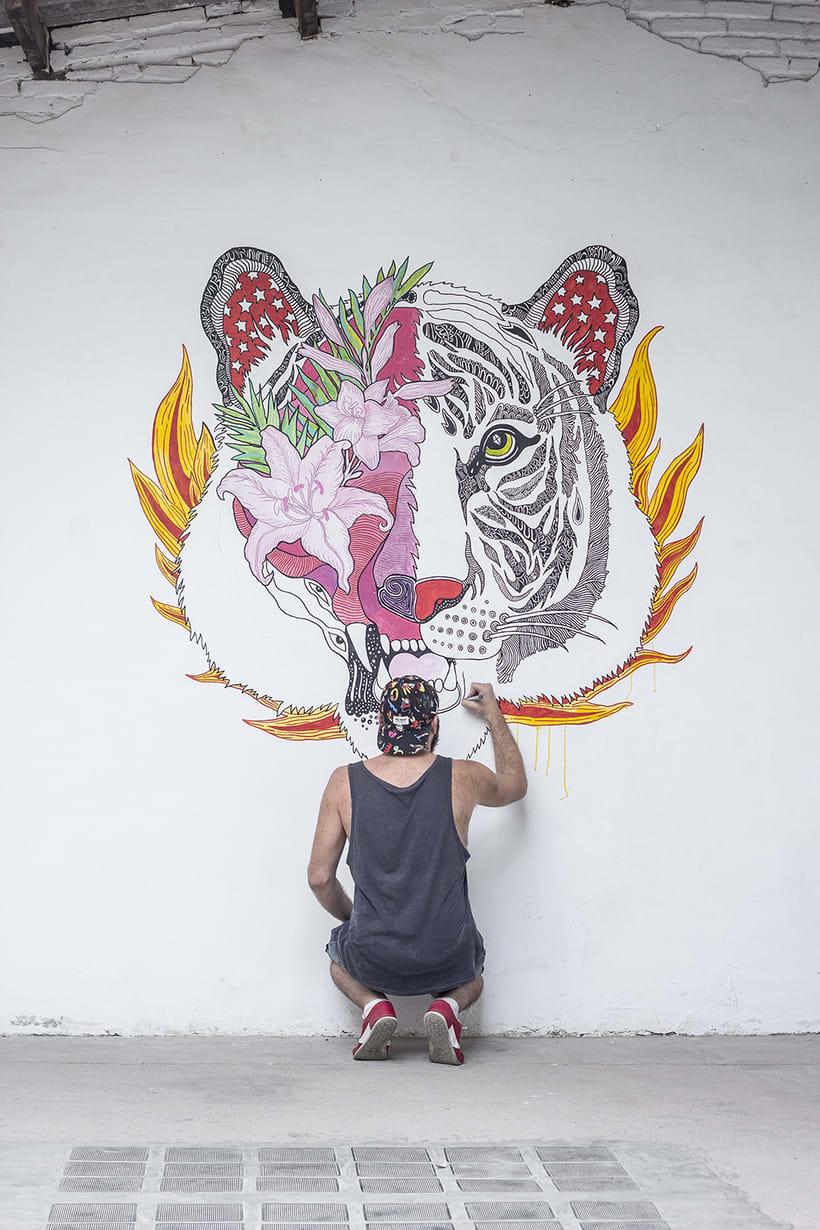 Mural para coworking El Altillo Valencia -1