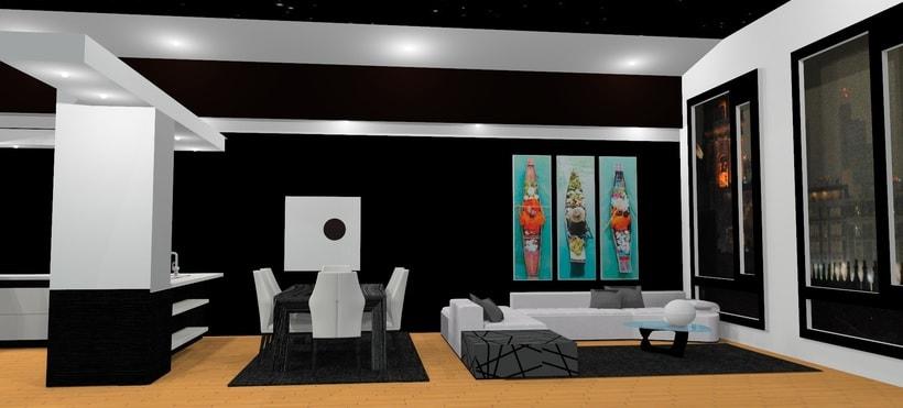 Ático: salón, cocina, comedor 2
