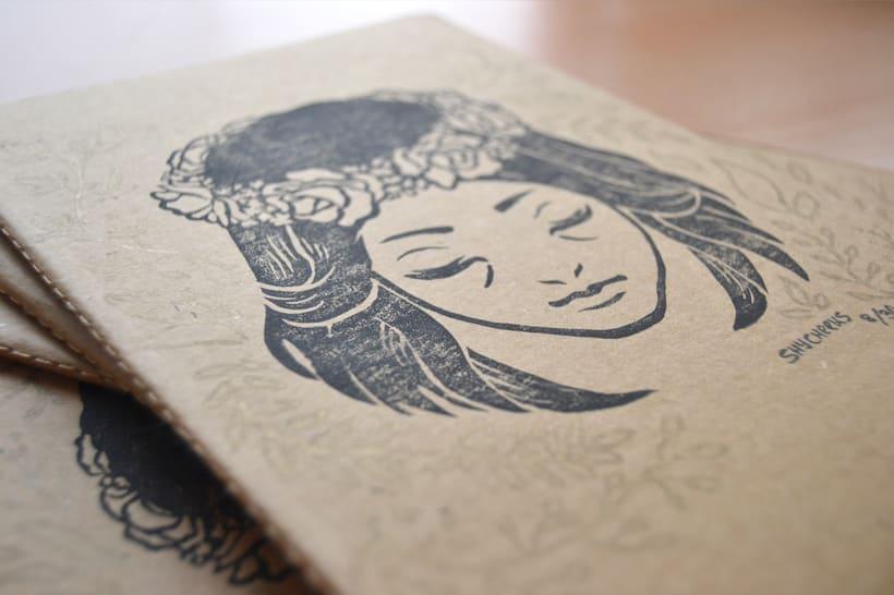 Corona de flores - Grabado sobre cartón 1