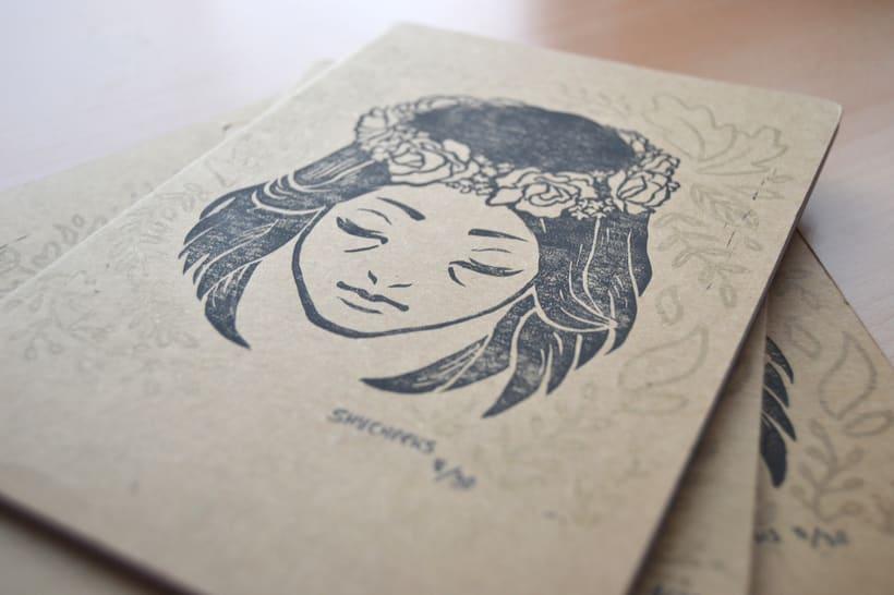 Corona de flores - Grabado sobre cartón 4