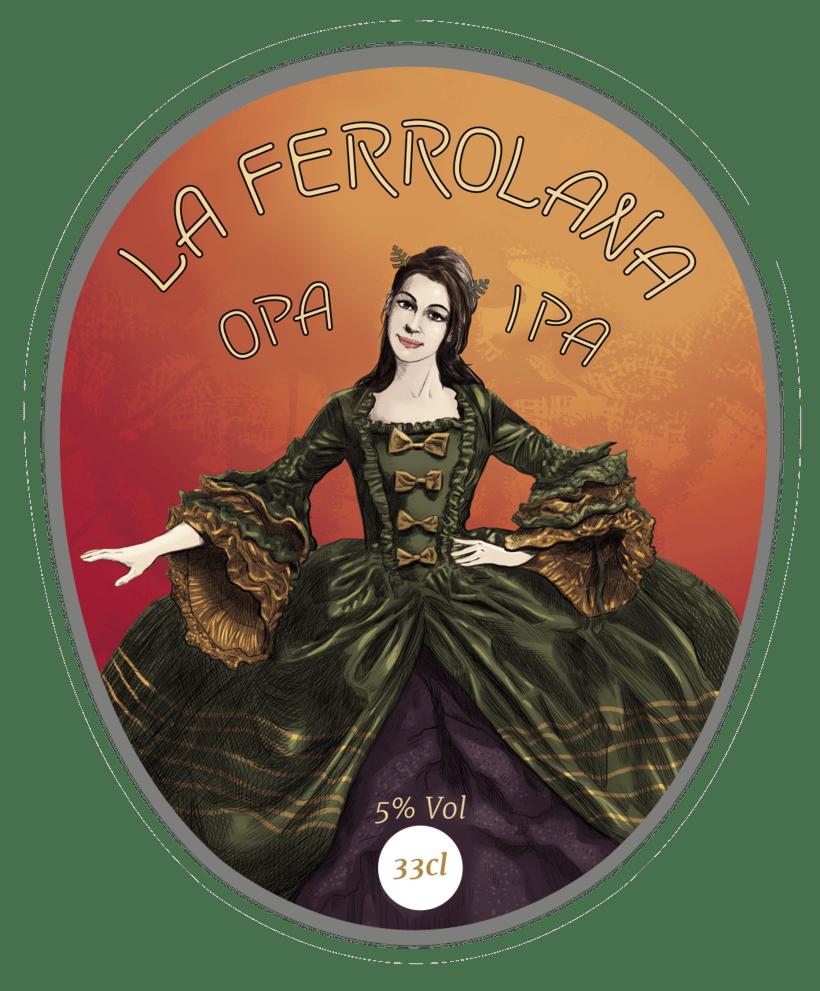 etiqueta cerveza: La Ferrolana Opa Ipa. La Ferrolana, Indian Pale Ale -1