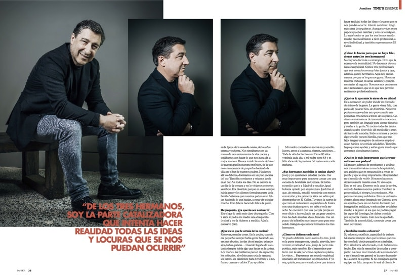 Entrevista al chef catalán Joan Roca para la revista Dapper. Octubre 2016 1