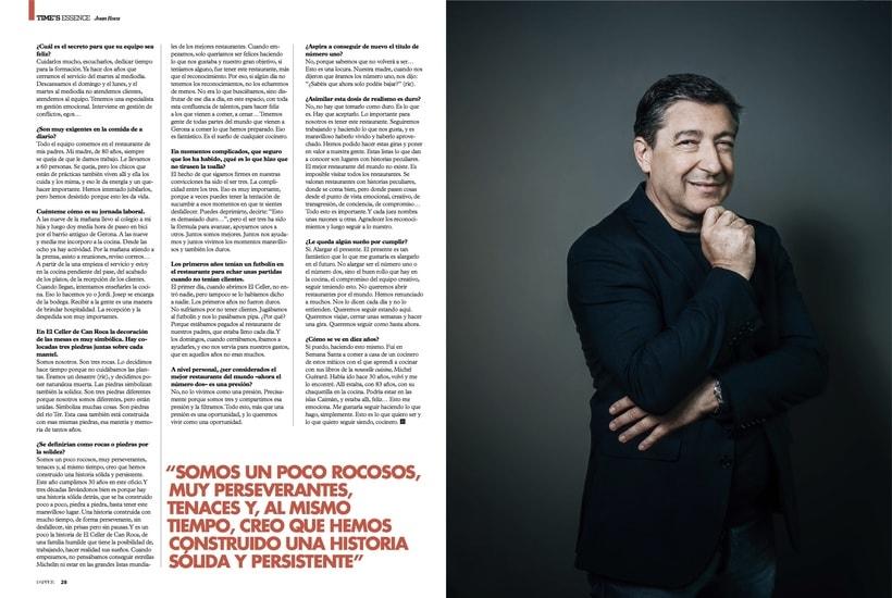 Entrevista al chef catalán Joan Roca para la revista Dapper. Octubre 2016 2