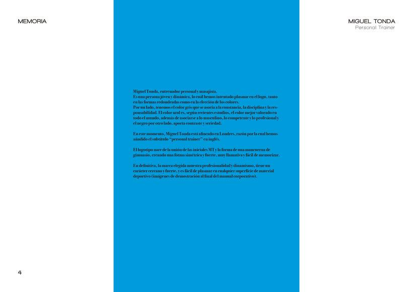 Manual de estilo para Miguel Tonda, personal trainer. 3