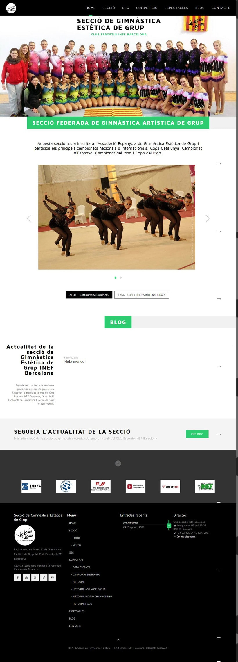 Web de les Seccions del Club Esportiu INEF Barcelona - 2016 2