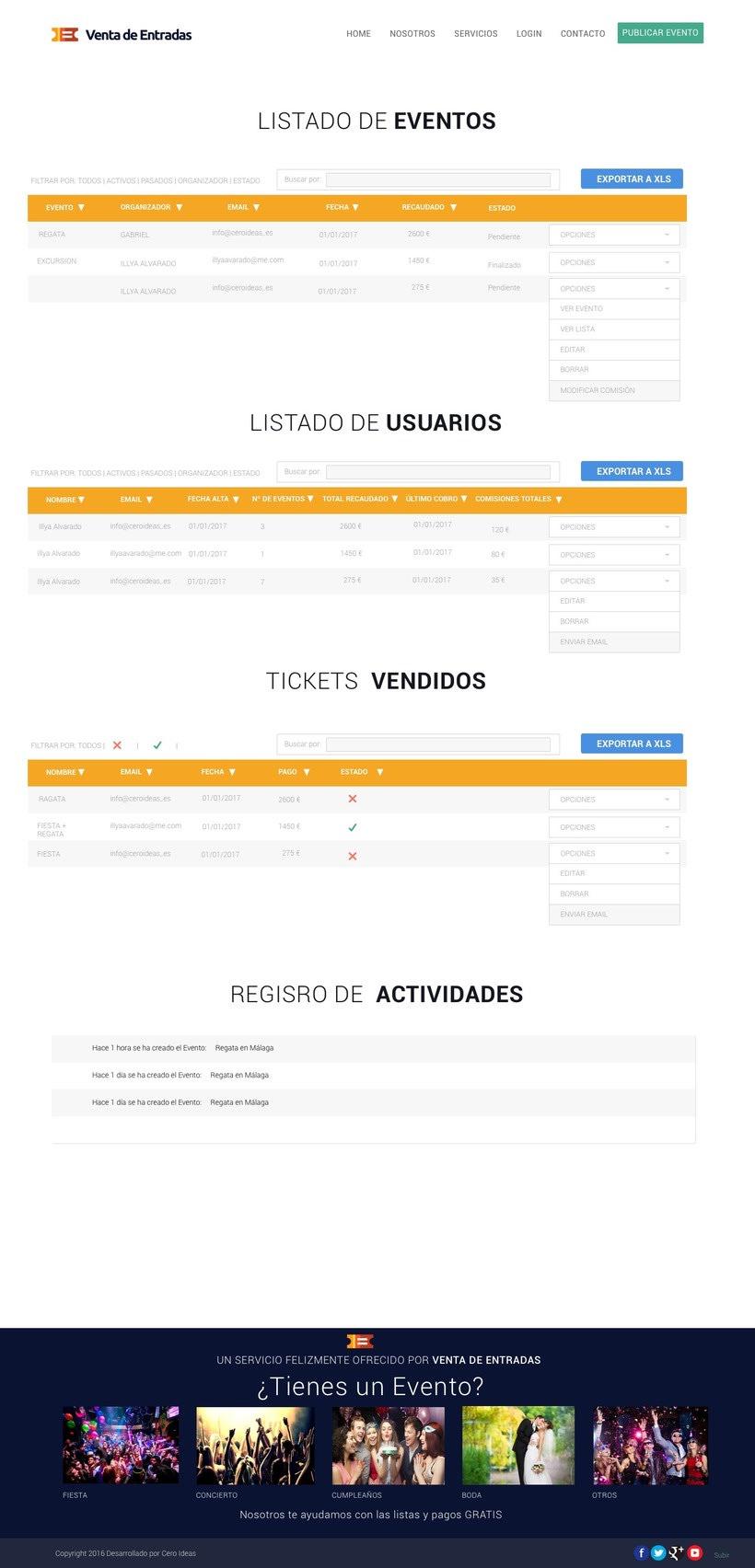 Diseño y desarrollo web para la web: Venta de Entradas -1