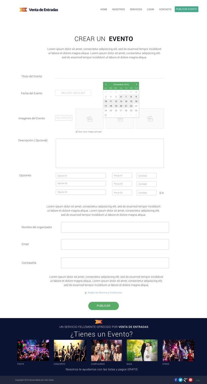 Diseño y desarrollo web para la web: Venta de Entradas 1