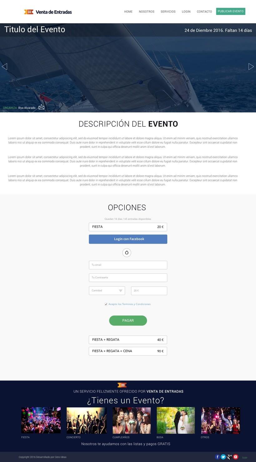 Diseño y desarrollo web para la web: Venta de Entradas 3