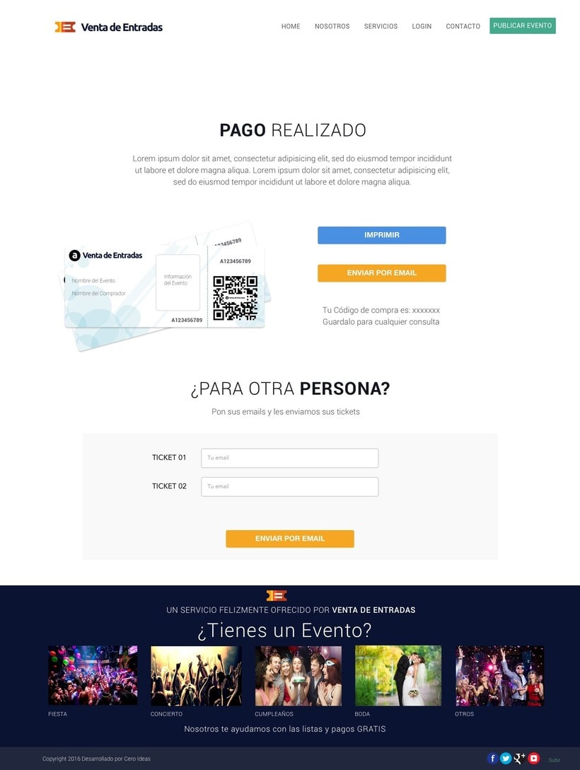 Diseño y desarrollo web para la web: Venta de Entradas 5