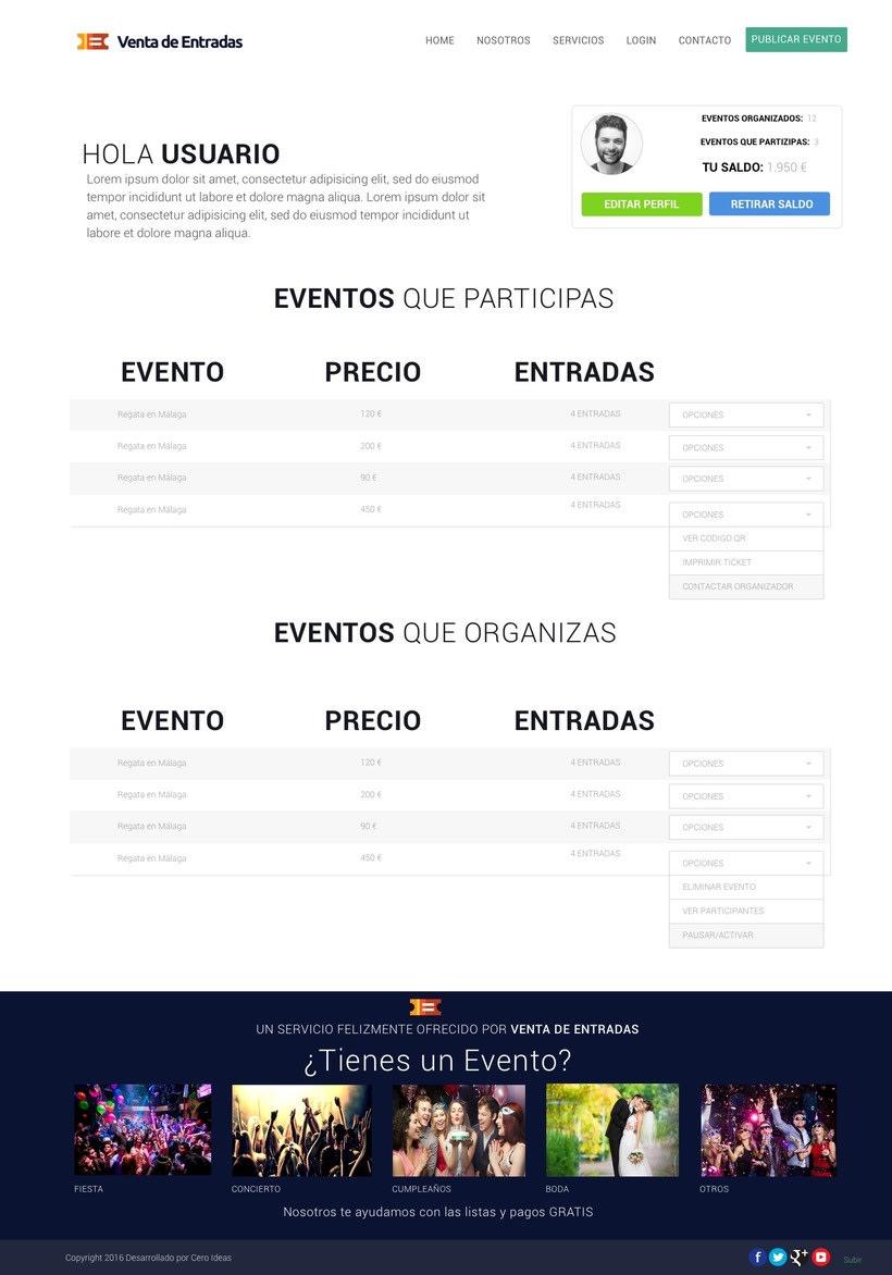 Diseño y desarrollo web para la web: Venta de Entradas 6