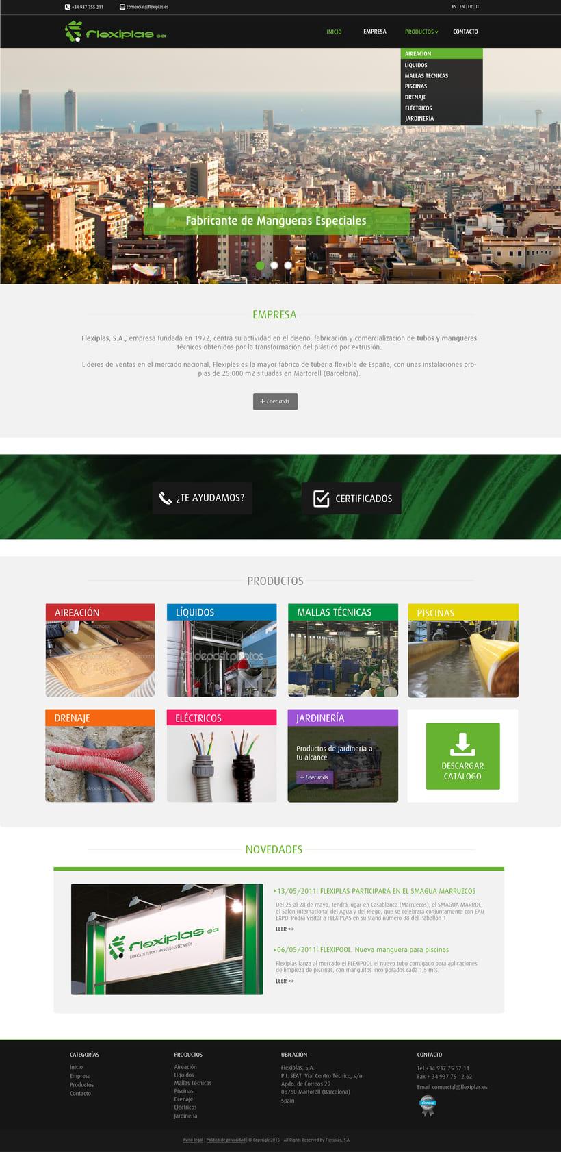 Diseño de portada de web corporativa para 'Flexiplas' 0