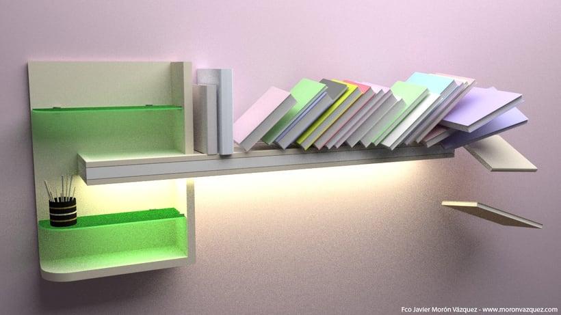 Estantería con libros. (Iluminación y físicas) 0