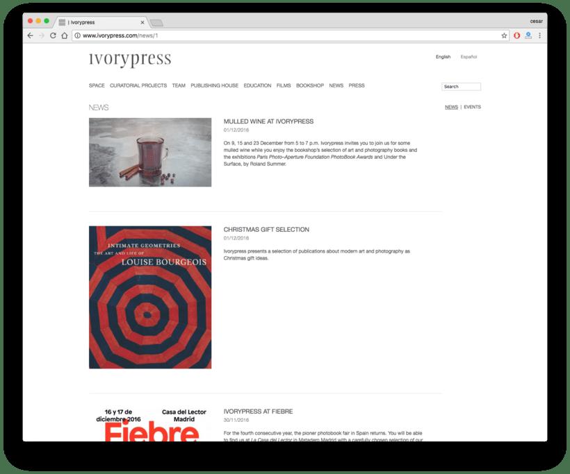 Ivorypress Página web para fundación de arte 2