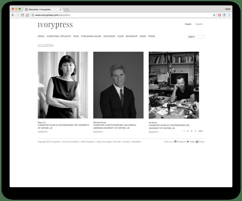 Ivorypress Página web para fundación de arte 4