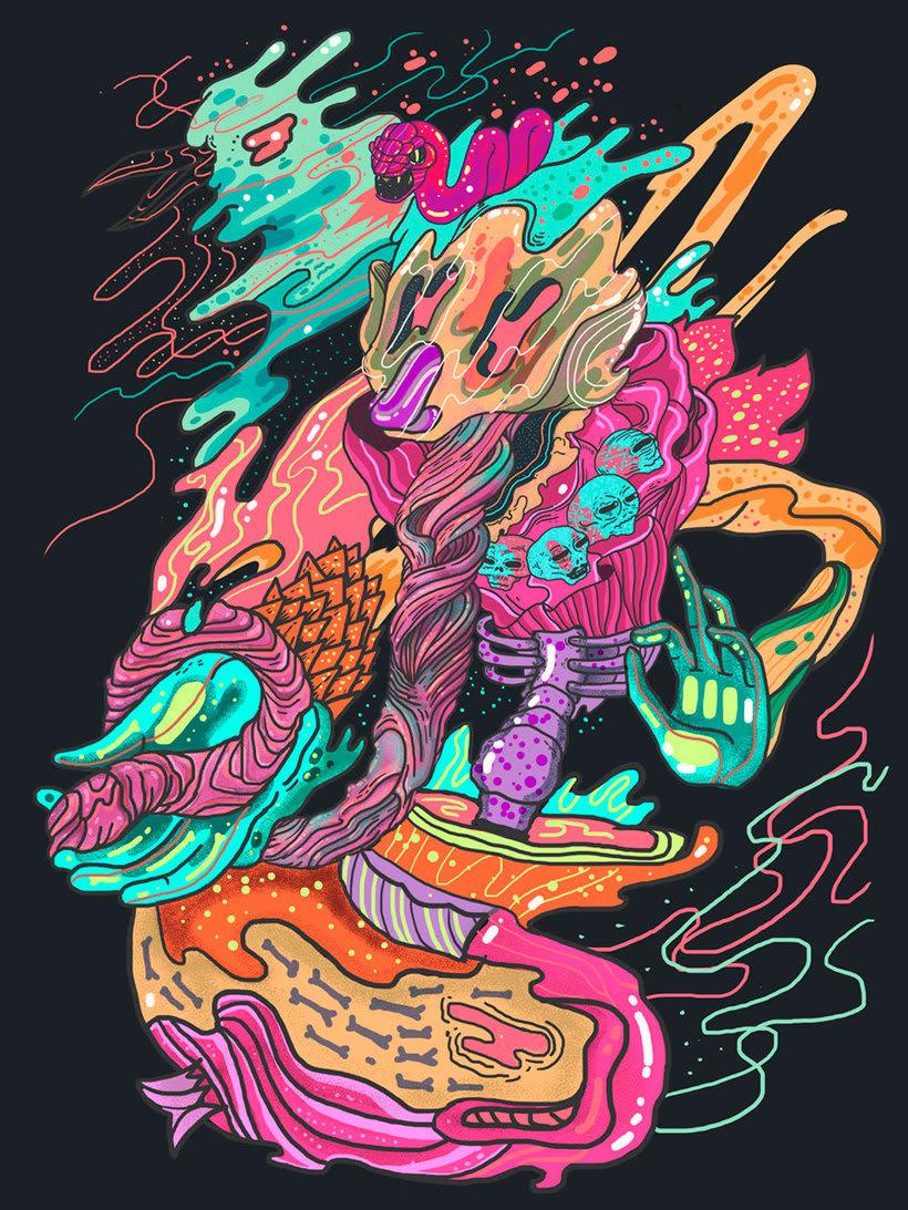 El colombiano Diego Bedoya ilustra inspirado en los 90's  1