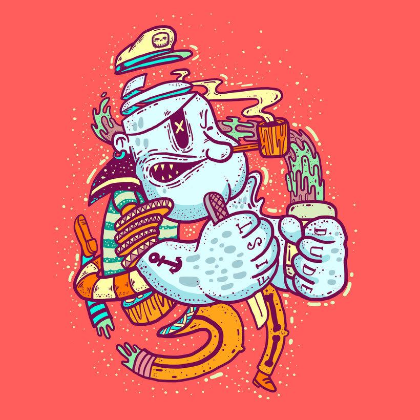 El colombiano Diego Bedoya ilustra inspirado en los 90's  2