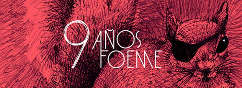 Gráficos y cartel para el noveno aniversario de la banda de rock Foeme 1