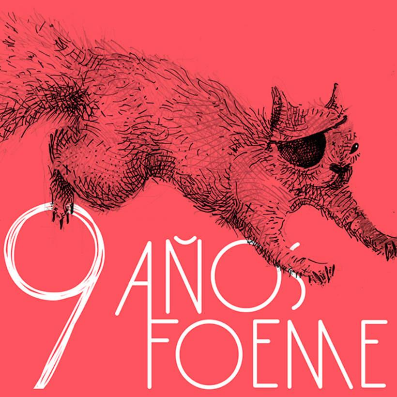 Gráficos y cartel para el noveno aniversario de la banda de rock Foeme 3