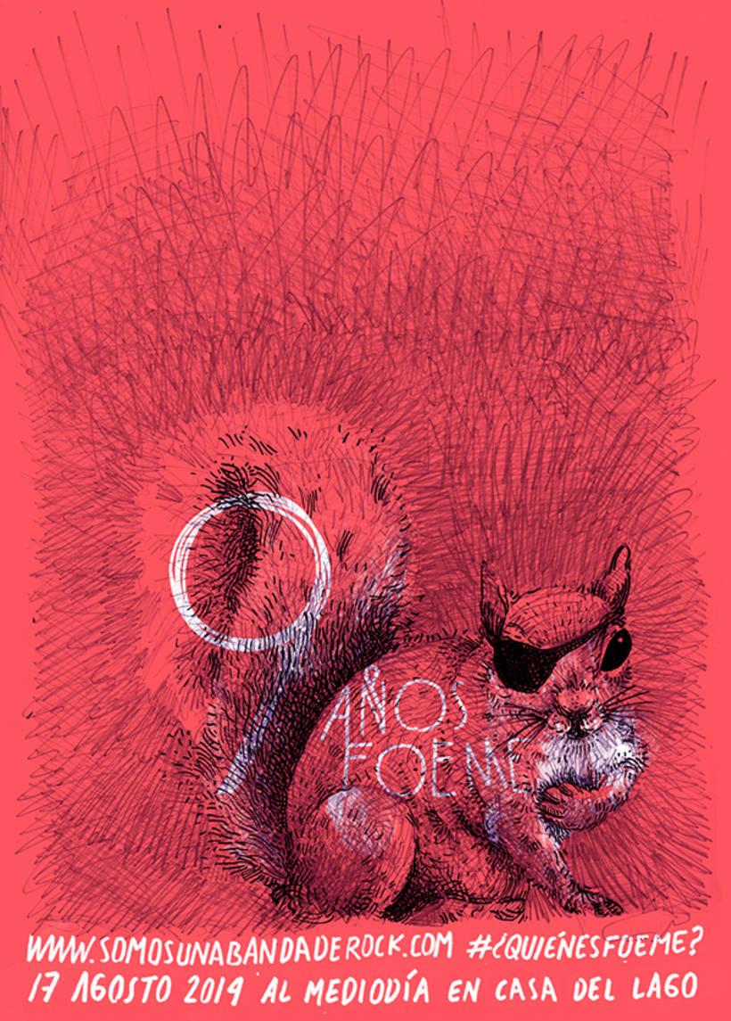 Gráficos y cartel para el noveno aniversario de la banda de rock Foeme 4
