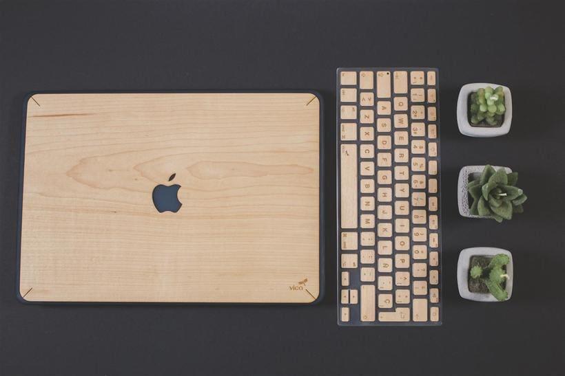 Fundas y teclados de Madera para Macbook 0