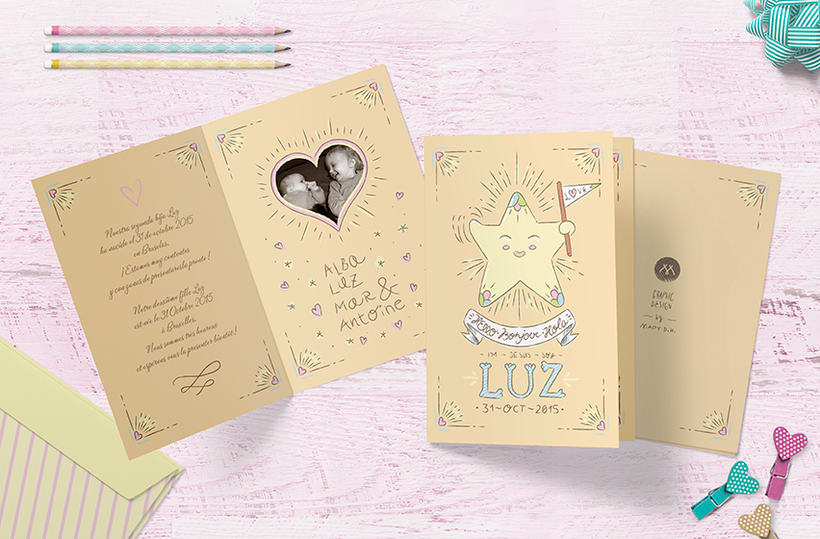 BABY LUZ · New born greeting card design and illustration  1