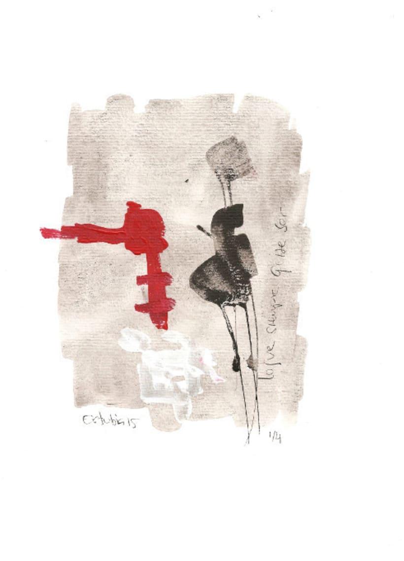 Serie mensaje entre tinta. Tinta china y acrílico sobre papel -1