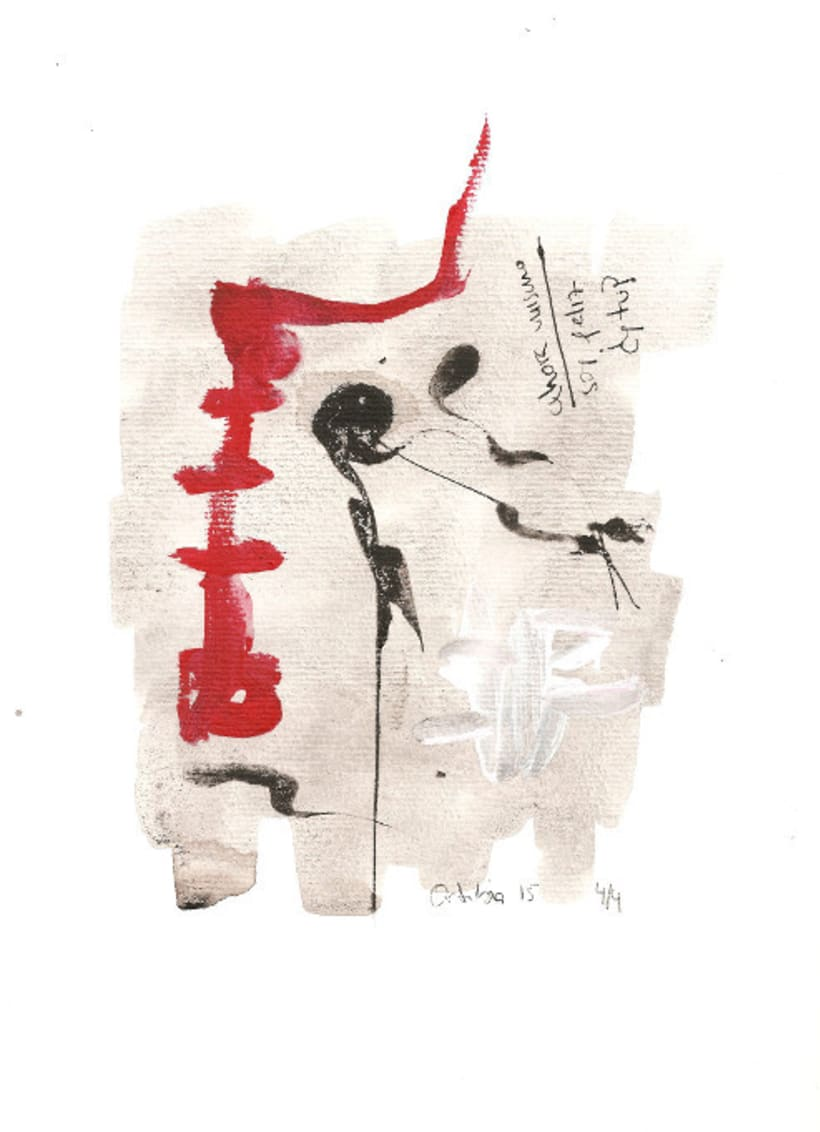 Serie mensaje entre tinta. Tinta china y acrílico sobre papel 2