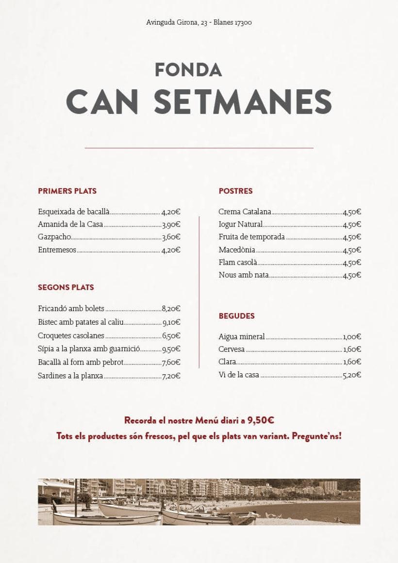 Can Setmanes, maquetación de una carta de Restaurante -1