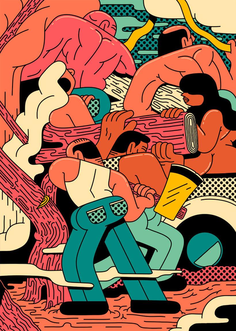 Ilustraciones animadas en clave de cómic de Simon Landrein 1
