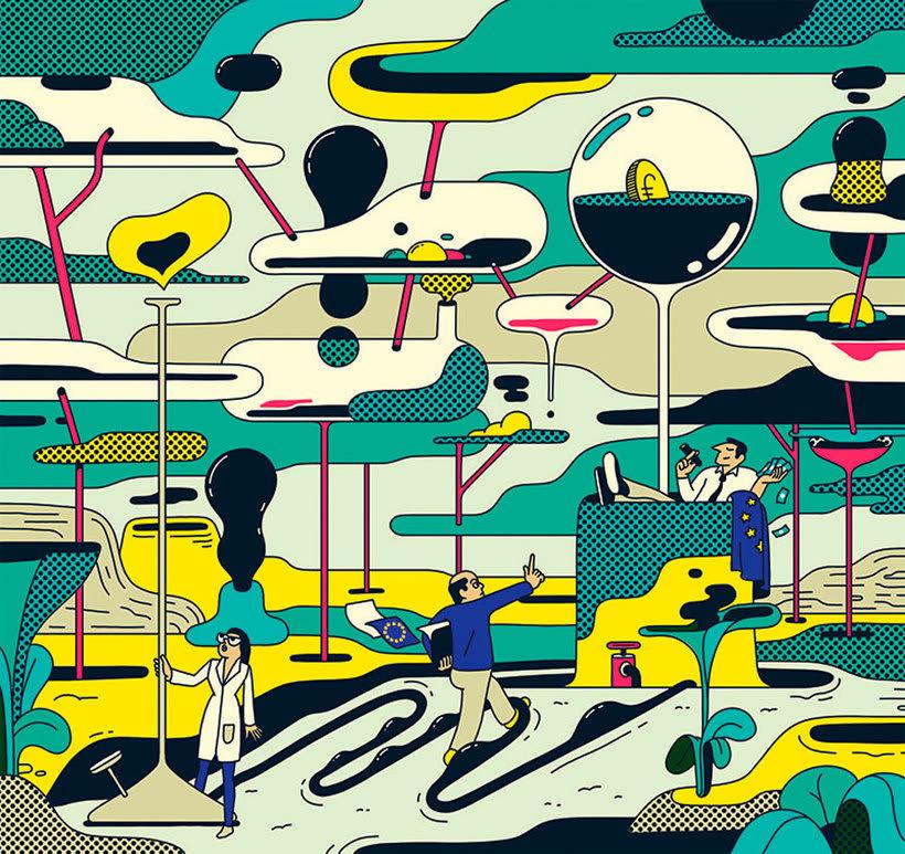 Ilustraciones animadas en clave de cómic de Simon Landrein 17
