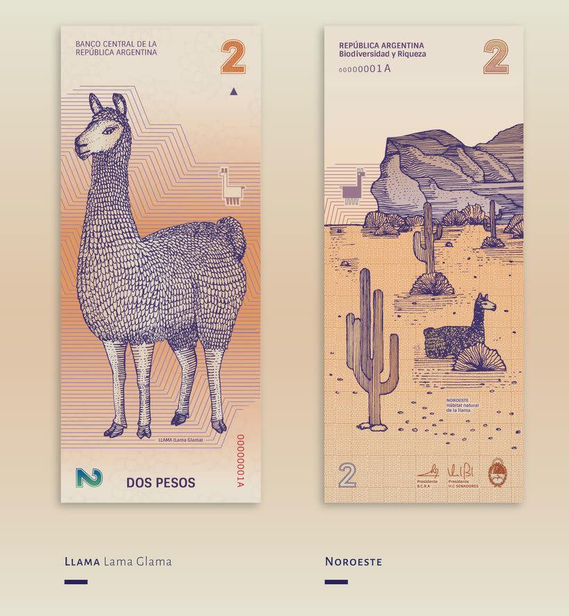 Billetes que muestran la biodiversidad argentina 1