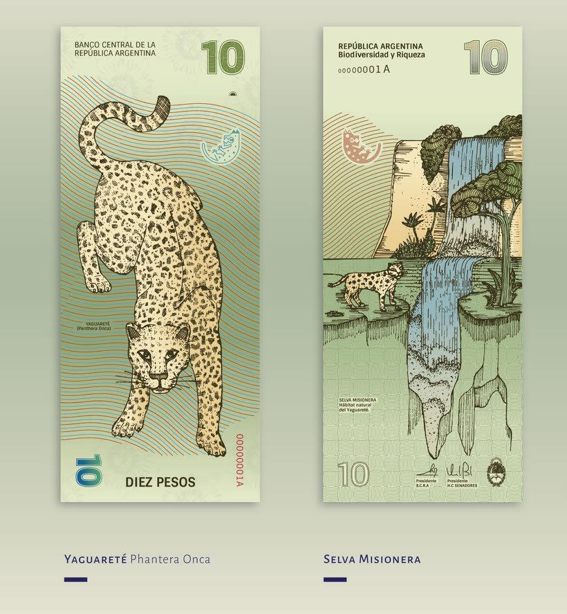 Billetes que muestran la biodiversidad argentina 4