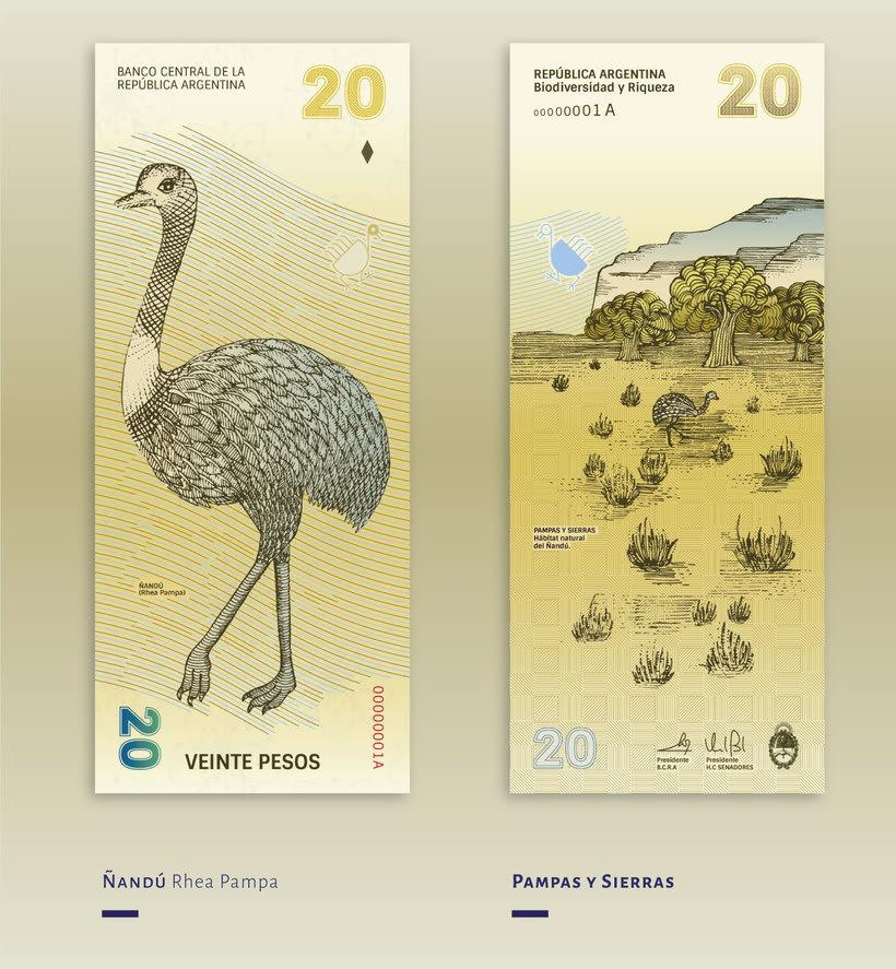 Billetes que muestran la biodiversidad argentina 6