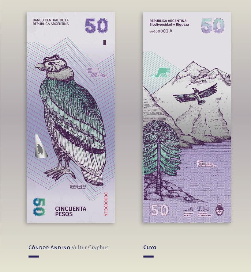 Billetes que muestran la biodiversidad argentina 7