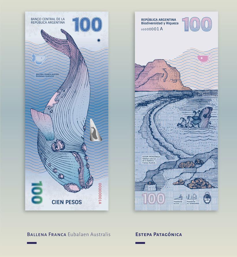 Billetes que muestran la biodiversidad argentina 8