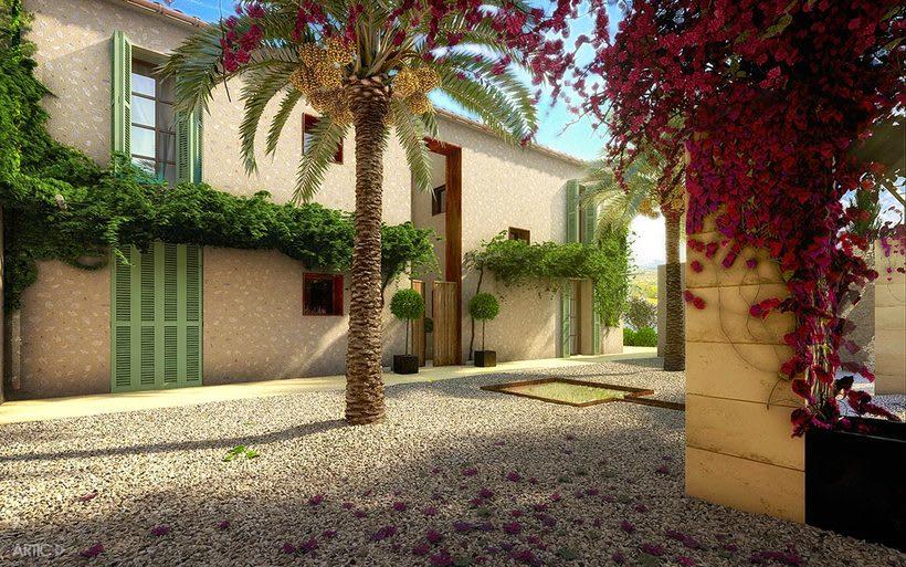 Interiorismo y visualización 3D de una vivienda rústica en Santanyí, Mallorca 1