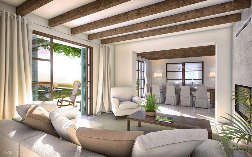 Interiorismo y visualización 3D de una vivienda rústica en Santanyí, Mallorca 2