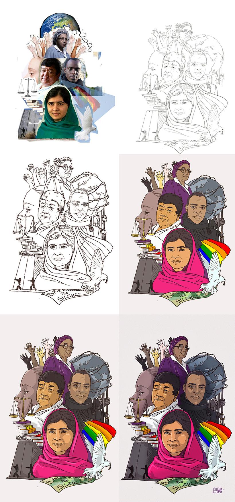 """""""Guerreros de la paz"""": Técnicas de Ilustración y composición realista para prensa. 5"""