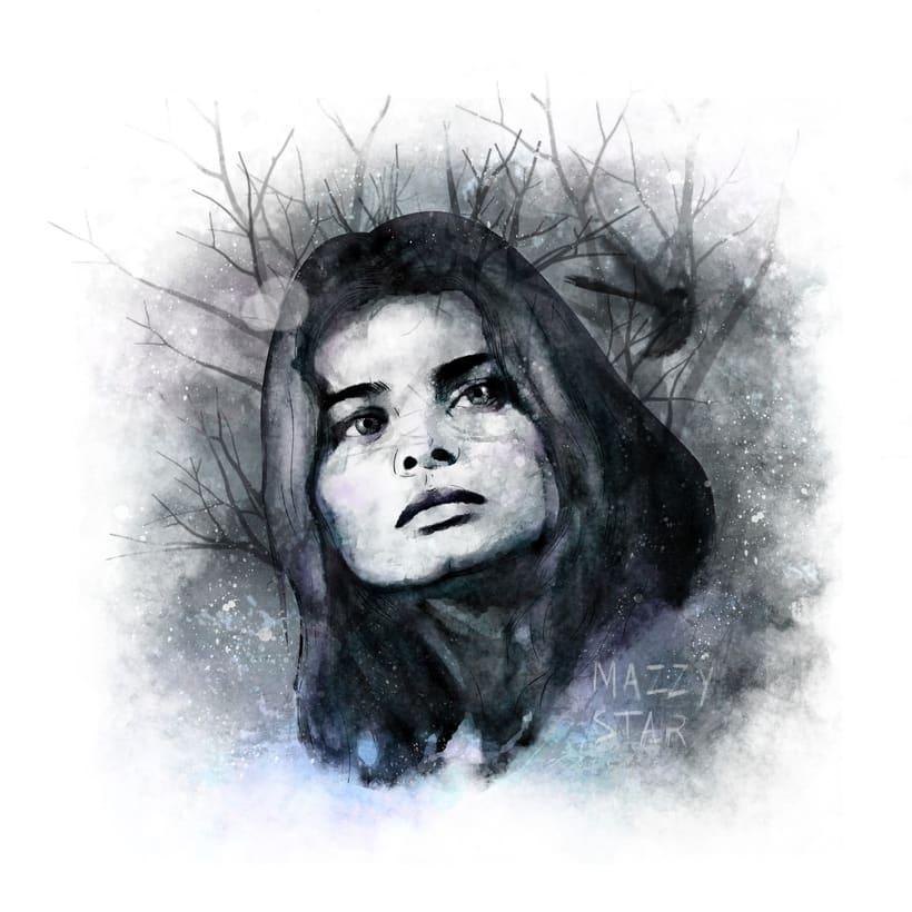 Mi Proyecto del curso: Retrato ilustrado con Photoshop Hope Sandoval de Mazzy Star -1