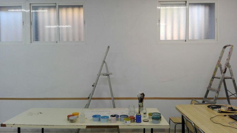 """Pintura Mural """"Proyecto Cometa""""en la """"Parroquia Nuestra Señora de la Paz""""Sala Jóvenes.Granada.2017 1"""