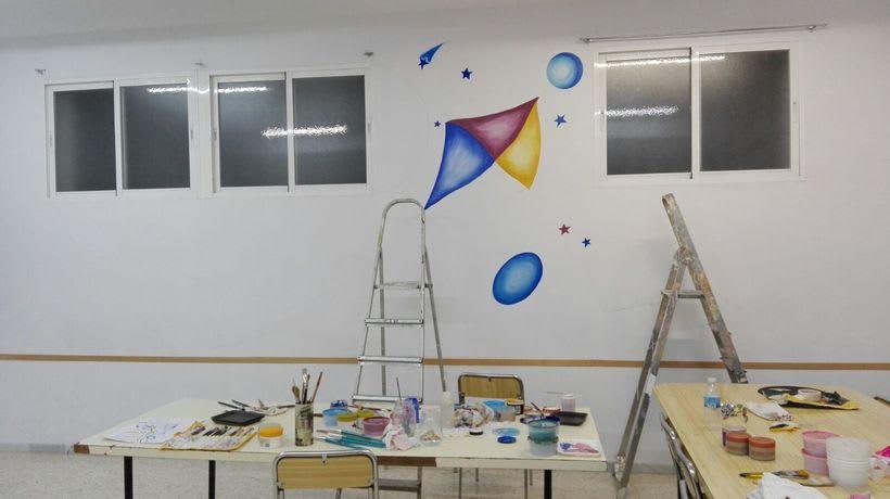 """Pintura Mural """"Proyecto Cometa""""en la """"Parroquia Nuestra Señora de la Paz""""Sala Jóvenes.Granada.2017 2"""