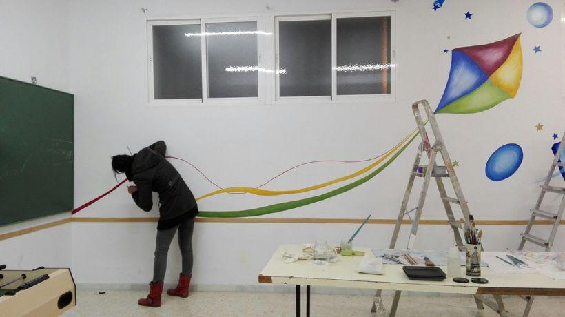 """Pintura Mural """"Proyecto Cometa""""en la """"Parroquia Nuestra Señora de la Paz""""Sala Jóvenes.Granada.2017 4"""