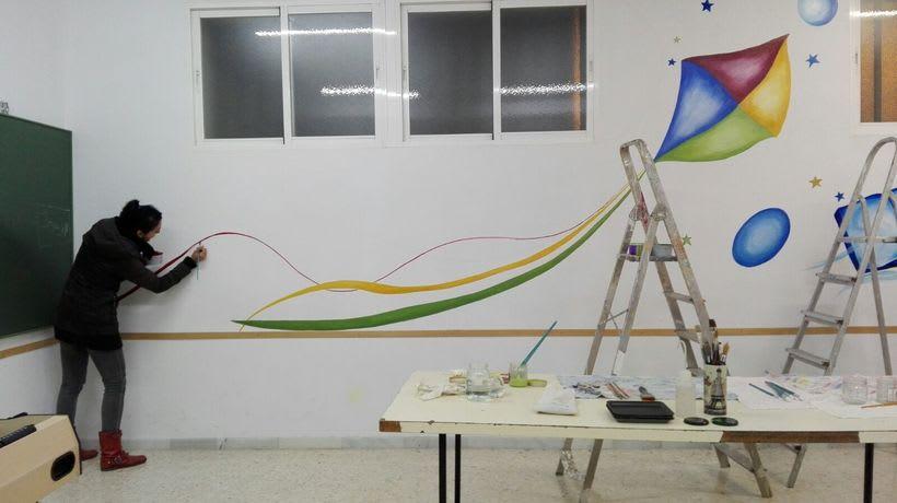 """Pintura Mural """"Proyecto Cometa""""en la """"Parroquia Nuestra Señora de la Paz""""Sala Jóvenes.Granada.2017 5"""