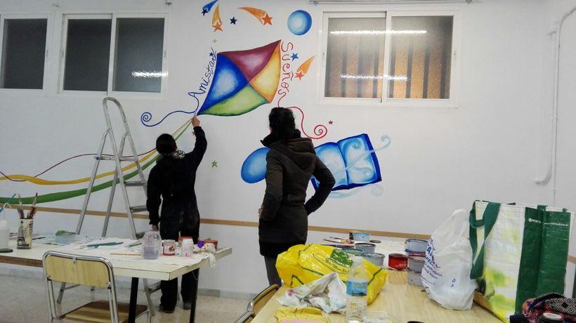 """Pintura Mural """"Proyecto Cometa""""en la """"Parroquia Nuestra Señora de la Paz""""Sala Jóvenes.Granada.2017 6"""