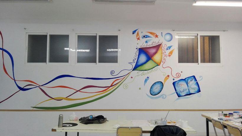 """Pintura Mural """"Proyecto Cometa""""en la """"Parroquia Nuestra Señora de la Paz""""Sala Jóvenes.Granada.2017 7"""