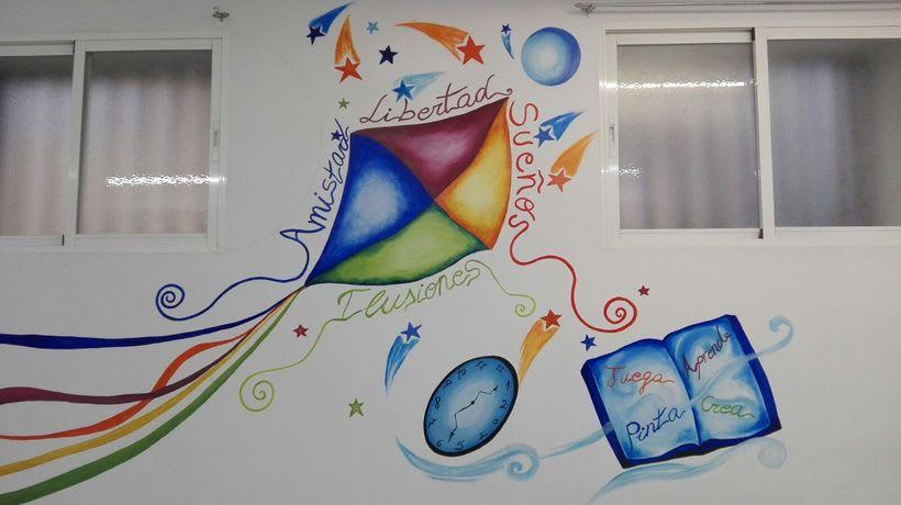 """Pintura Mural """"Proyecto Cometa""""en la """"Parroquia Nuestra Señora de la Paz""""Sala Jóvenes.Granada.2017 8"""