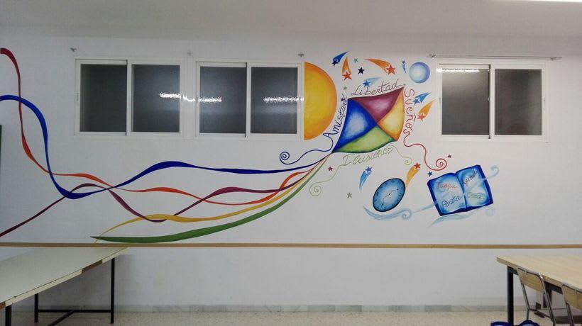 """Pintura Mural """"Proyecto Cometa""""en la """"Parroquia Nuestra Señora de la Paz""""Sala Jóvenes.Granada.2017 9"""