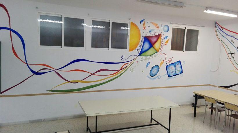 """Pintura Mural """"Proyecto Cometa""""en la """"Parroquia Nuestra Señora de la Paz""""Sala Jóvenes.Granada.2017 10"""