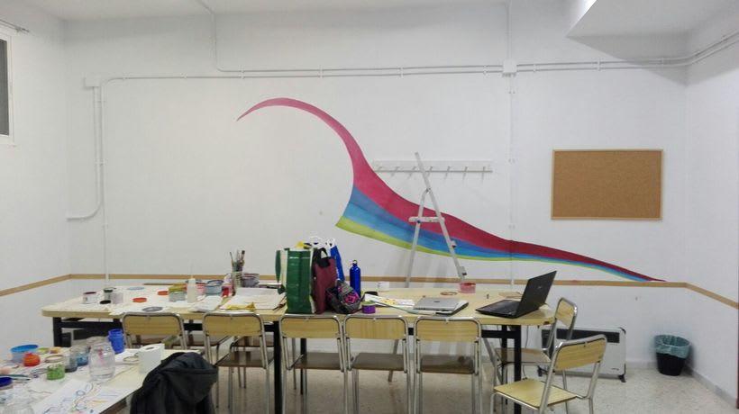 """Pintura Mural """"Proyecto Cometa""""en la """"Parroquia Nuestra Señora de la Paz""""Sala Jóvenes.Granada.2017 11"""